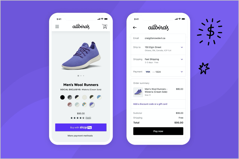 Image of a white cell phone displaying the allbirds shopping site