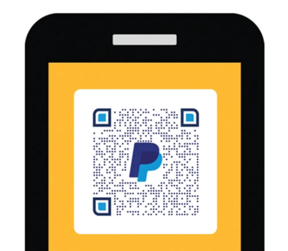 Image of a phone using the PayPal QR code to use as payment method.